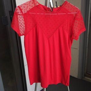 Tshirt Red Maje Swiss Inlay Tribor Dot Lace Tops Poshmark With Z44Btxqw